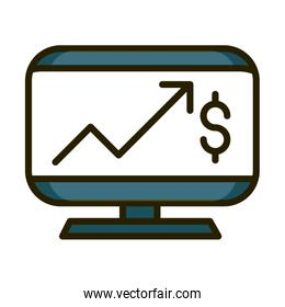 computer profit arrow money financial business stock market line and fill icon