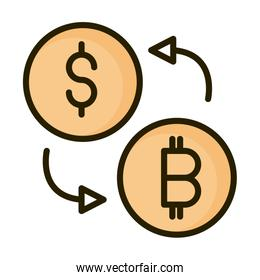 money dollar bitcoin exchange financial business stock market line and fill icon