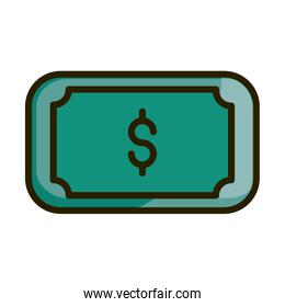 banknote money cash financial business stock market line and fill icon