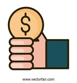 hand with coin money financial business stock market line and fill icon