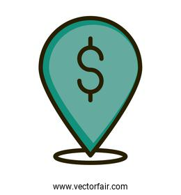 pointer location money financial business stock market line and fill icon