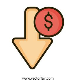 decrease money arrow financial business stock market line and fill icon