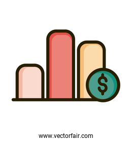 report chart diagram money financial business stock market line and fill icon