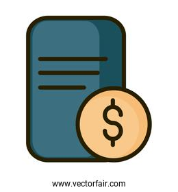 money coin voucher payment financial business stock market line and fill icon