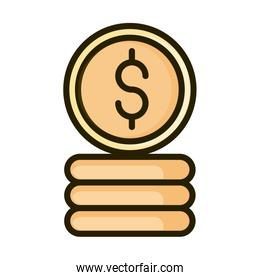 stacked of coins money financial business stock market line and fill icon
