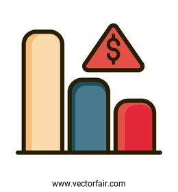 statistics chart bar money financial business stock market line and fill icon