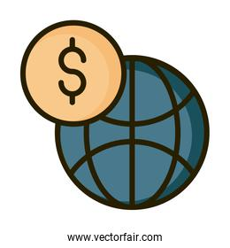 world money financial business stock market line and fill icon