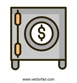 safe box money bank financial business stock market line and fill icon