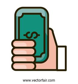 hand with banknote money financial business stock market line and fill icon
