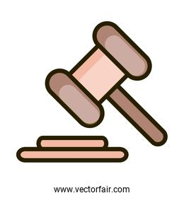 law hammer justice financial business stock market line and fill icon