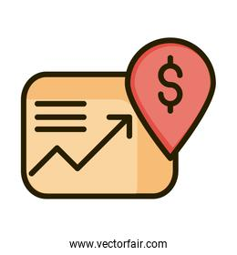 profit arrow money location pin financial business stock market line and fill icon