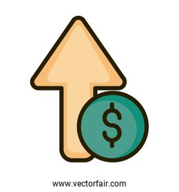 growing arrow money financial business stock market line and fill icon