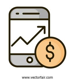 smartphone growth arrow money coin financial business stock market line and fill icon