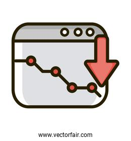 decrease statistic diagram website financial business stock market line and fill icon