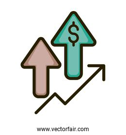 profit arrows money economy financial business stock market line and fill icon