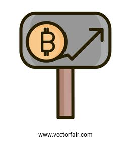 bitcoin cryptocurrency profit financial business stock market line and fill icon