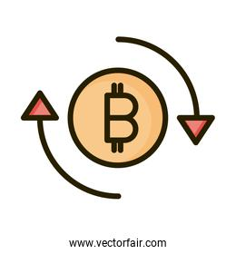 bitcoin exchange financial business stock market line and fill icon