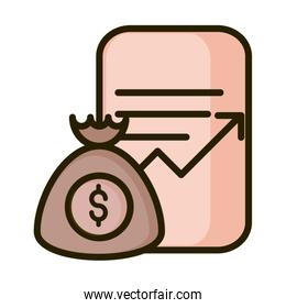 money bag document report profit financial business stock market line and fill icon