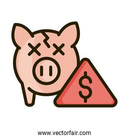 broken piggy bank crisis financial business stock market line and fill icon