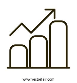 statistics chart growth arrow financial business stock market line style icon