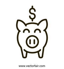 piggy bank money financial business stock market line style icon