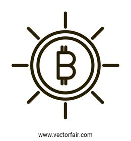 bitcoin cryptocurrency financial business stock market line style icon