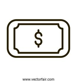 banknote money cash financial business stock market line style icon