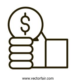 hand with coin money financial business stock market line style icon