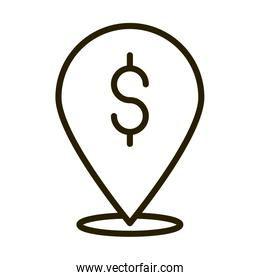pointer location money financial business stock market line style icon