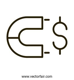 marketing magnet money financial business stock market line style icon