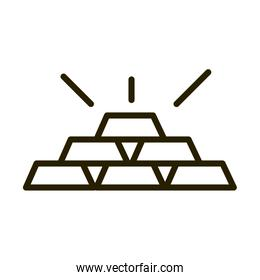 stack of gold bars treasure financial business stock market line style icon