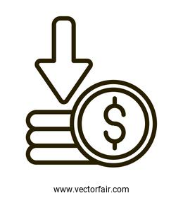 stacked of coins money financial business stock market line style icon