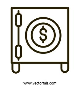 safe box money bank financial business stock market line style icon