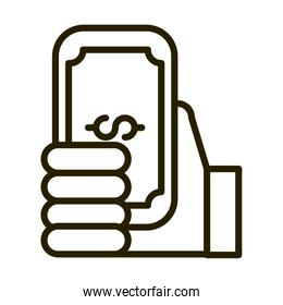 hand with banknote money financial business stock market line style icon