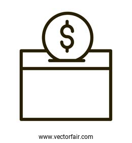 charity money coin in box financial business stock market line style icon