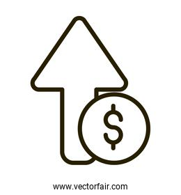 growing arrow money financial business stock market line style icon