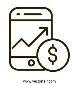 smartphone growth arrow money coin financial business stock market line style icon