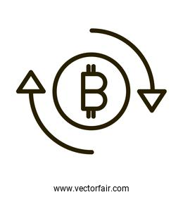 bitcoin exchange financial business stock market line style icon