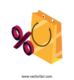 online shopping, paper bag discount percentage isometric isolated icon