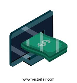 online shopping, computer screen money banknote isometric isolated icon