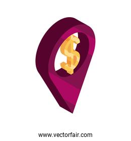 online shopping, location pointer money isometric isolated icon