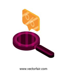 online shopping, magnifying glass money offer isometric isolated icon