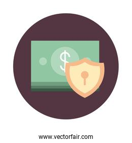 mobile banking, stacked of banknote money protection block style icon