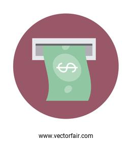 mobile banking, atm money banknote payment block style icon