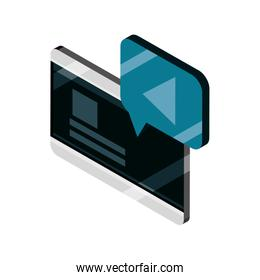 tablet video player device gadget technology isometric isolated icon