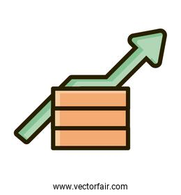 money profit arrow business financial investing line and fill icon