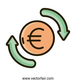 euro money exchange business financial investing line and fill icon