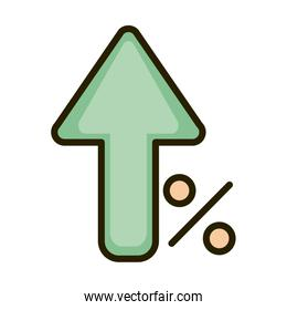 growing arrow percent money business financial investing line and fill icon