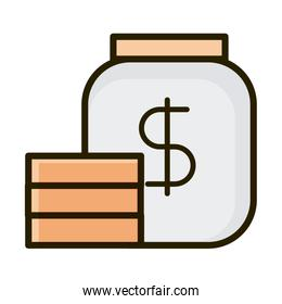 jar with stack coins business financial investing line and fill icon