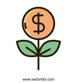 plant coin money business financial investing line and fill icon